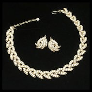 Trifari Rhinestone Necklace and Earrings Set Vintage