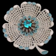 Early Plastic Flower Brooch Pin Rhinestone Center Vintage