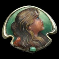 Art Nouveau Enamel Portrait Profile of Lady Pin Sterling Silver Vintage