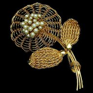 Open Weave Wire Flower Brooch Pin Vintage Vendome
