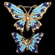 Double Butterfly Pin Vintage Beaded Miriam Haskell Brooch
