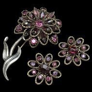 Purple Rhinestone Flower Brooch Pin & Earrings Set Vintage Weiss