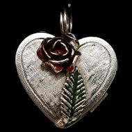 Heart Locket Charm Enamel Rose Opens to Message Vintage Sterling Silver
