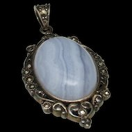 Agate Pendant Sterling Silver Marcasite Bezel Vintage