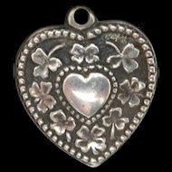 Puffy Heart Charm Vintage Sterling Silver Walter Lampl Shamrocks