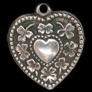 Puffy Heart Charm Vintage Sterling Silver Walter Lampl Shamrocks