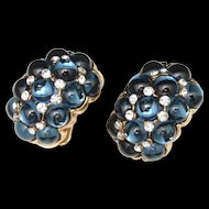 Vogue Bijoux Vintage Earrings Dark Blue Glass Cabs & Rhinestones