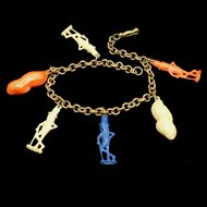 Planter's Peanuts Advertising Charm Bracelet Vintage Mr. Peanut