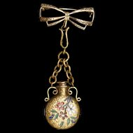 Bow Pin with Dangling Perfume Flask Vintage 10k Gold Filled Enamel Chatelaine