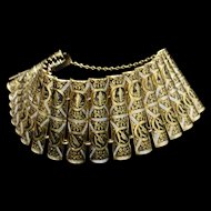 """1 1/2"""" Wide Damascene Cylinder Link Bracelet Vintage"""