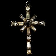 Sterling Silver and Rhinestones Cross Lord's Prayer in Stanhope Viewer Pendant