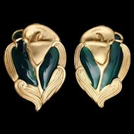 Calla Lily Earrings Gold Tone Dark Green Enamel Vintage Georgiou