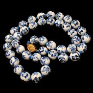Blue and White Bead Necklace Strand Vintage