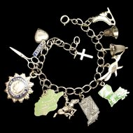 Charm Bracelet Sterling Silver & Enamel with 12 Charms Vintage