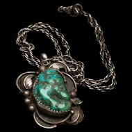 Sterling Silver Turquoise Pendant Necklace Hallmarked Tawa by CC Southwestern