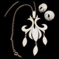 Trifari Fleur-de-Lis Pendant Necklace & Earrings Set Vintage White Enamel