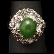 Sterling Silver Ring Frilly Flower Green Stone Vintage