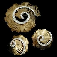 Trifari Pin and Earrings Set Ribbed Metal Clear Rhinestones Swirl Design Vintage