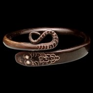 Snake Bangle Bracelet Victorian Etched Horn Coiled Serpent