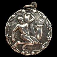 Zodiac Aquarius Charm Vintage Sterling Silver Engraved Reverse ORB Otto R Bade