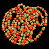 "54"" Long String of Bright Glass Beads Vintage Necklace"