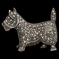 Dog Pin Sterling Silver Marcasites Terrier Scottie Westie Vintage Figural Brooch
