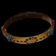 Celluloid Bangle Bracelet Vintage Rhinestone Studded Floral Design