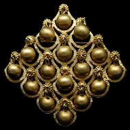 Vendome Brooch Pin Ball and Grid Design Vintage