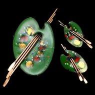 Palette Pin & Earrings Set Vintage Matisse Renoir Copper Enamel