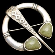 Scottish Celtic Penannular Brooch Pin Vintage Sterling Silver Connemara Marble