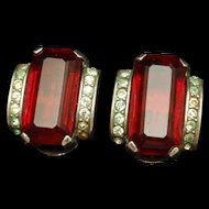 Trifari Ruby Rhinestone Earrings c1944 Alfred Philippe Design