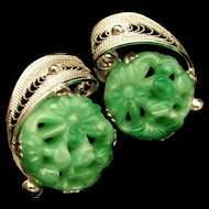 Sterling Silver Earrings with Carved Floral Design in Green Vintage Screwbacks