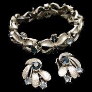 Coro Bracelet Earrings Set Satin Finish 2 Colors Rhinestones