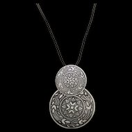 Eloxal Pendant Necklace Double Discs on Cord Vintage Aluminium
