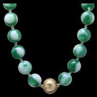 Marbles Necklace Green & White Glass Vintage Castlecliff