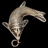 Fish Pendant Vintage Silver Tone Filigree Metal