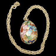 Cloisonne Egg Pendant Necklace Multi-Colored