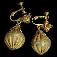 Miriam Haskell Gold Tone Drop Earrings