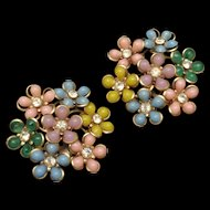 Multi-Colored Pastel Flower Earrings Vintage Clips