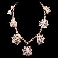 Art Deco Pink Celluloid Leaf Necklace