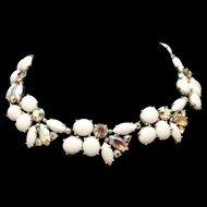Milk White and Aurora Borealis AB Rhinestones Necklace Vintage