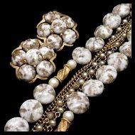 Kramer 2-Color Multi-Strand Bracelet and Earrings Set Vintage