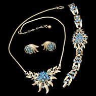 Trifari Set Necklace Bracelet & Earrings Blue Rhinestones Vintage