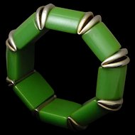 Green Bakelite Flex Bracelet with Chrome Accents