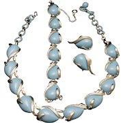 Coro Light Blue Necklace Bracelet Earrings Set Vintage