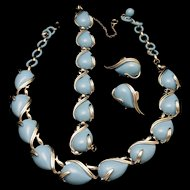 Coro Light Blue Necklace Bracelet Earrings Set Vintage