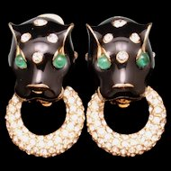 Ciner Big Cat Door Knocker Earrings Rhinestones Enamel Vintage