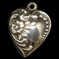 Puffy Heart Charm Sterling Silver Vintage
