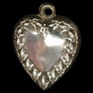 Sterling Silver Puffy Heart Charm Vintage