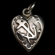 Puffy Heart Charm Sterling Silver Anchor USN Navy Vintage